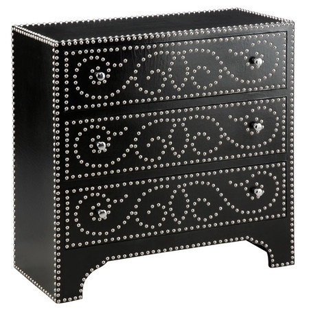 Nailhead trimmed dresser - you can do this easily by hammering tacks into a dresser