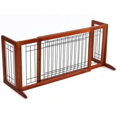 Pet Fence Gate Free Standing Adjustable Dog Gate Indoor Solid Wood Construction