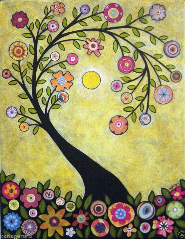 TAPETE junto o artesanato papel padrão Collage árvore arte popular Resumo primitivo KARLA G