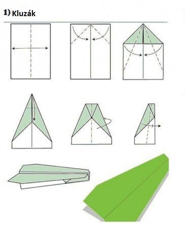 Vlaštovka z papíru - Kluzák