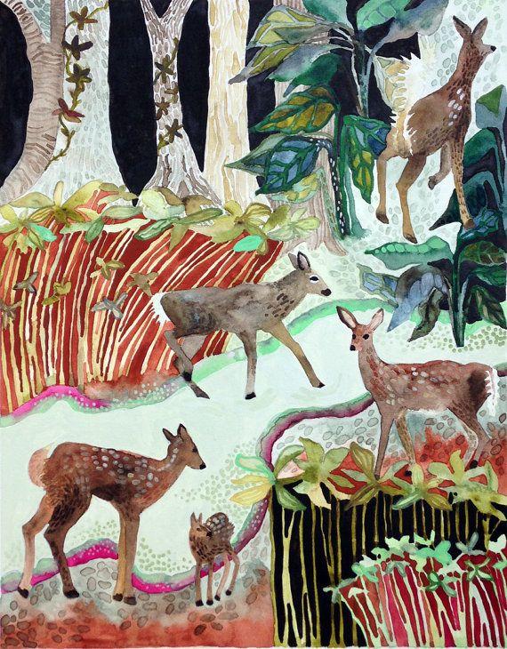 Art Print Watercolor Deer Crossing The Swamp