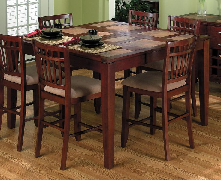 Great Wooden 7 Pieces Dining Set With Square Table And 6 Kitchen Counter Height Cream Velvet Seat On Wood Floors Furniture Ideas