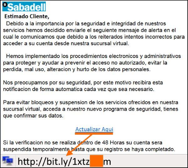 Correo de la campaña de PHISING al Bco.Sabadell | Hay que fijarse en lo mal escrito que está el mensaje. Con eso ya se indica que es falso.  .