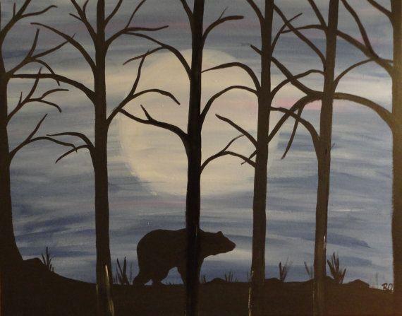Bear silhouette framed acrylic painting16X20 by RachelOlynukArt,