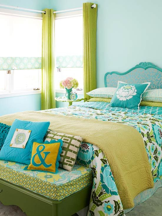 Saturated Color Scheme  Turquoise + Ivy  Find a fabric you love and use it to inspire your color combo. This peppy comforter provides the palette for this bedroom full of repurposed items. Once you have your fabric, go shopping in your attic, basement, or other rooms for underused furnishings, such as this bench, that you can update inexpensively with paint or fabric. Add saturated color to walls, bedding, window treatments, and furniture.