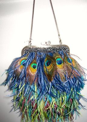 New Moo Roo Mary Norton Evening Bag Black Feathers Bead Frosting $995 Blue | eBay