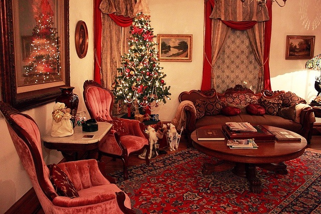 A gorgeous Victorian parlor all decked out for Christmas.