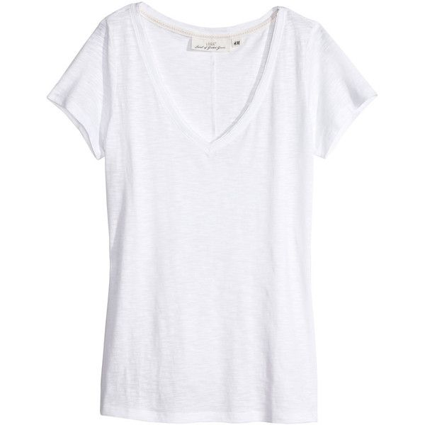 H&M V-neck top (34 BRL) ❤ liked on Polyvore featuring tops, t-shirts, shirts, tees, white, v neck t shirts, v neck shirts, white v neck shirt, white v neck tee and white t shirt