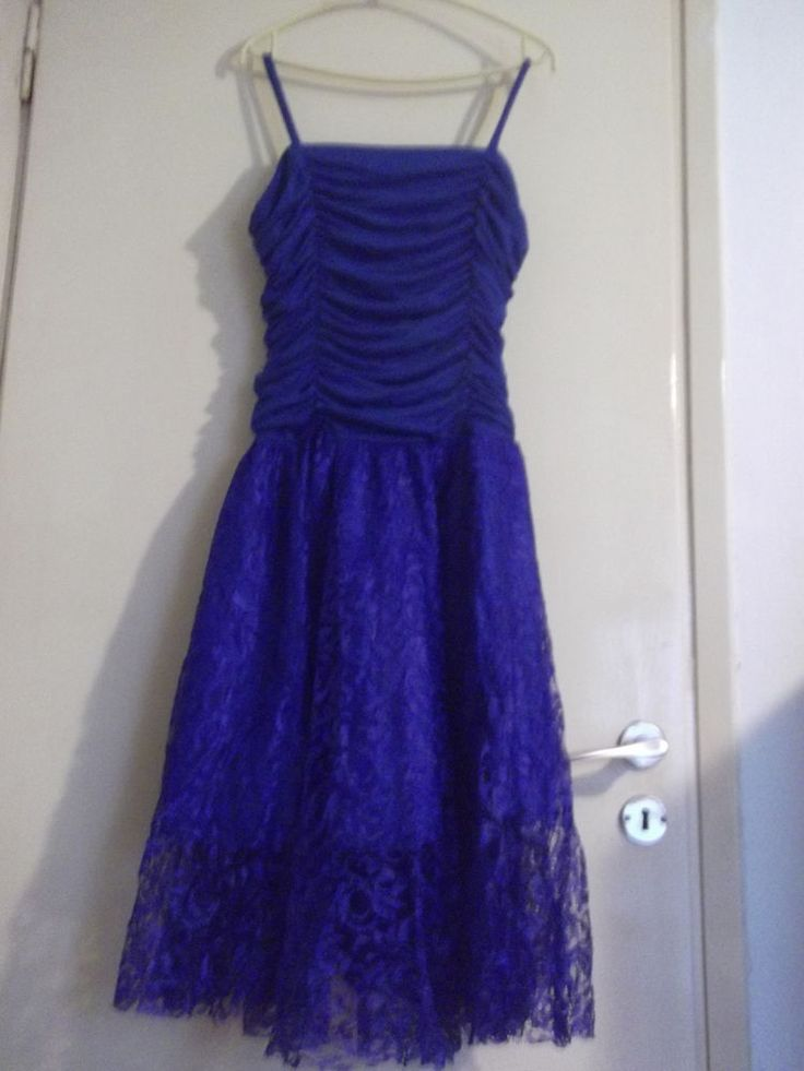 80s blue cocktail dress with ruched chest #amici