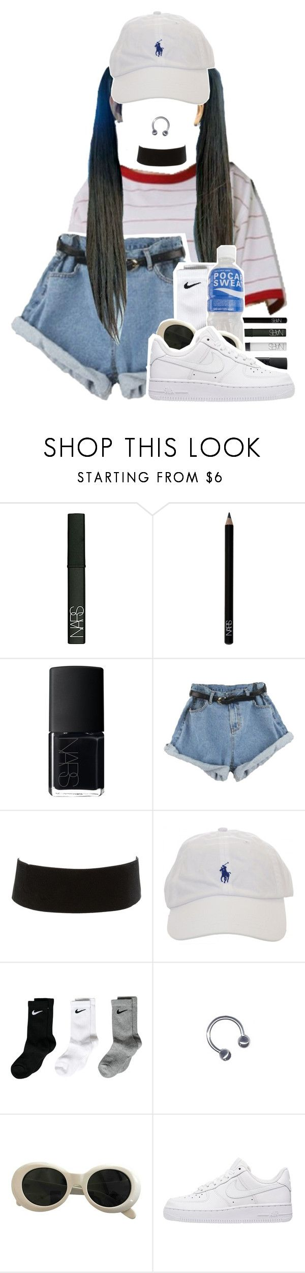 """""""M I C  D R O P"""" by gaeeko ❤ liked on Polyvore featuring NARS Cosmetics, Charlotte Russe, NIKE and Acne Studios"""
