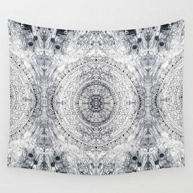 Wall Tapestry featuring Black&white Mandala - & Grey Blue   by TigaTiga Artworks