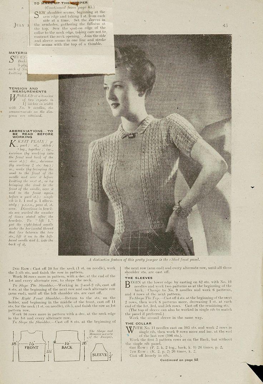 vintage sweater pattern1940S Knits, Sweater Patterns, Knitting Patterns, Knits Pattern, 1940S Pattern, Vintage Pattern, Sweaters Pattern, Free 1940S, Vintage Knits