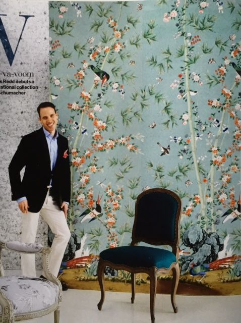 Miles redd for schumacher chinoiserie paper pinterest for Wallpaper for wall behind bed