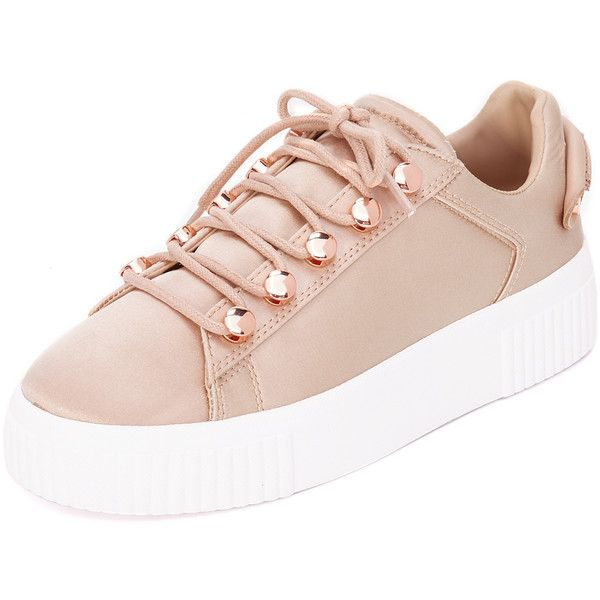 KENDALL + KYLIE Rae III Satin Sneakers (430 BRL) ❤ liked on Polyvore featuring shoes, sneakers, light pink, shiny shoes, laced up shoes, rubber sole shoes, laced sneakers and light pink shoes