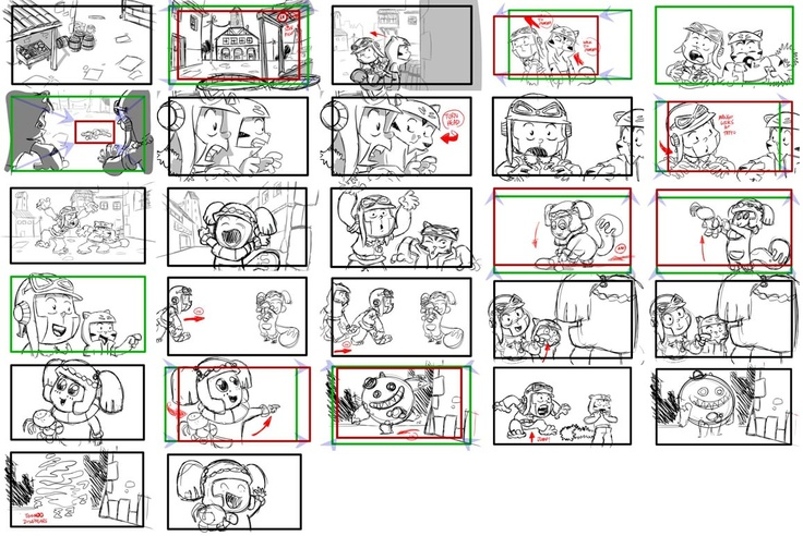 robot storyboard part 1 - two robots fighting each other CGR105 - magazine storyboard