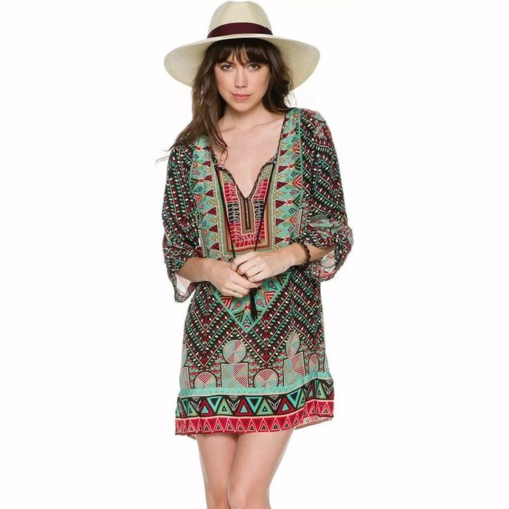 Cheap vestidos de verao, Buy Quality indian summer dresses directly from China women bohemian dress Suppliers: 2017 New Pattern Casual Women Bohemian Dress Baroque Vintage Totem Print Indian Spring Dresses Boho Dress Vestidos de verao