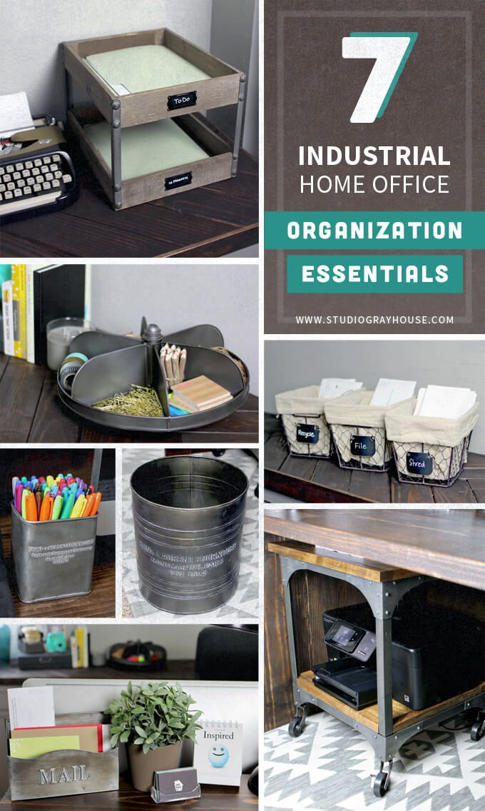 Control home office clutter and organize your home office with these cool industrial home office organization essentials.