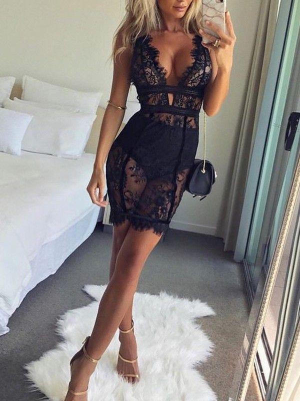 Sexy Deep V Scalloped Lace Dress 15