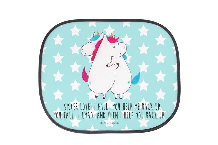 Auto Sonnenschutz Unicorn Umarmen mit Spruch aus Kunstfaser  Natur - Das Original von Mr. & Mrs. Panda.  Der einzigartige Sonnenschutz von Mr. & Mrs. Panda ist wirklich etwas ganz Besonderes.    Über unser Motiv Unicorn Umarmen mit Spruch  Die umarmenden Einhörner sind das ultimative Geschenk für die Schwester. Sie klaut die Klamotten, besetzt das Badezimmer und will immer die Fernbedienung. Aber trotzdem kann man nicht ohne sie. Die umarmenden Einhörner + Spruch sind ein Kompliment mit…