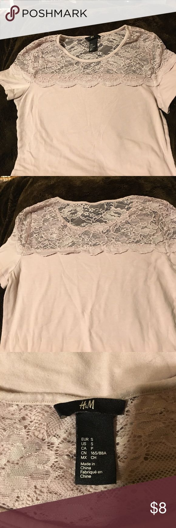 H&M Lace Short Sleeve Top Cute T with lace top from H&M in neutral light pinkish color.  Buy any five items in my closet that are priced $8 for $30 !!!! H&M Tops Tees - Short Sleeve