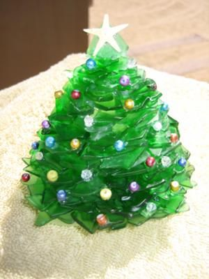 stacked pieces of sea glass glued on a bottle bottom glass christmas treechristmas - Glass Christmas Trees