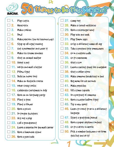 50 Things to Do This Summer- a pretty darn good list!