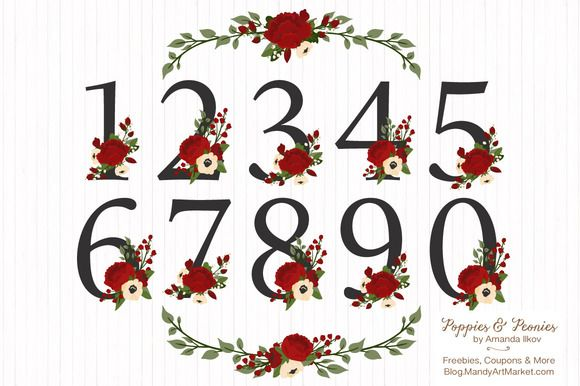 Christmas Floral Number Vectors by Amanda Ilkov on @creativemarket