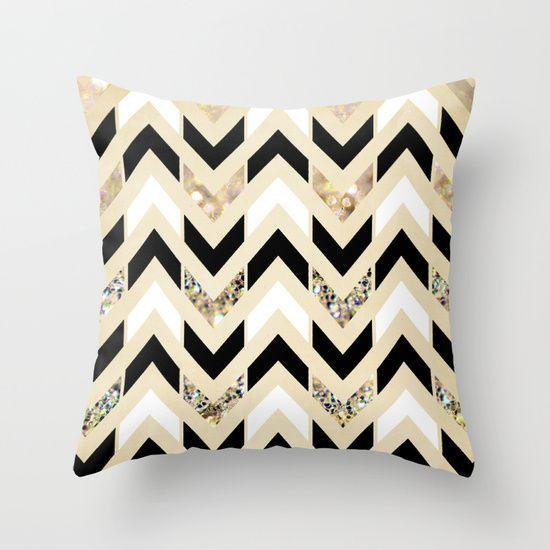 Black,+White+&+Gold+Glitter+Herringbone+Chevron+on+Nude+Cream+Throw+Pillow+by+Tangerine-Tane+-+$20.00