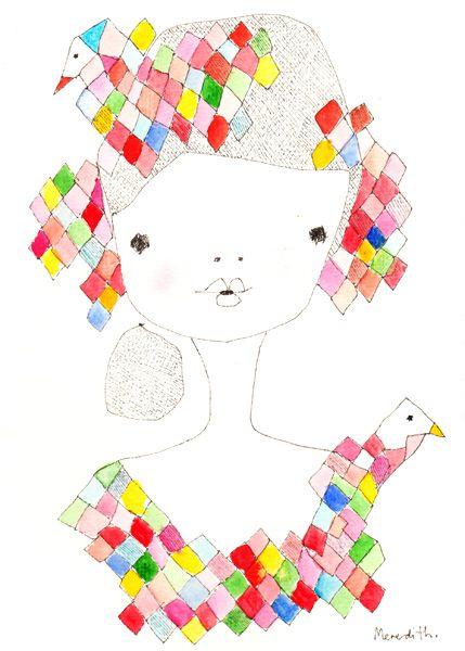 Meridith Gaston, Emilia Diamond with Paper Crane, 16x24, watercolour on paper