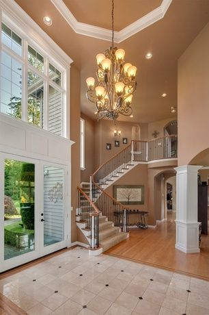 Traditional Entryway with Chandelier, Bulbrite dimmable led downlight retrofit recessed lighting kit, High ceiling