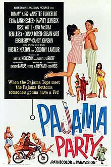 Pajama Party    theatrical poster //   Directed byDon Weis  Produced bySamuel Z. Arkoff  James H. Nicholson  Written byLouis M. Heyward  StarringTommy Kirk  Annette Funicello  Elsa Lanchester  Jody McCrea  Harvey Lembeck  Buster Keaton  Jesse White  Music byScore:  Les Baxter  Songs:  Jerry Styner  Guy Hemric  CinematographyFloyd Crosby  Editing byEve Newman  Distributed byAmerican International Pictures  Release date(s)  November 11, 1964