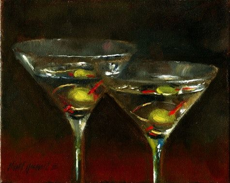 James Bond s Martinis Shaken, not Stirred 8 10 in. Oil on canvas, painting by artist Hall Groat II