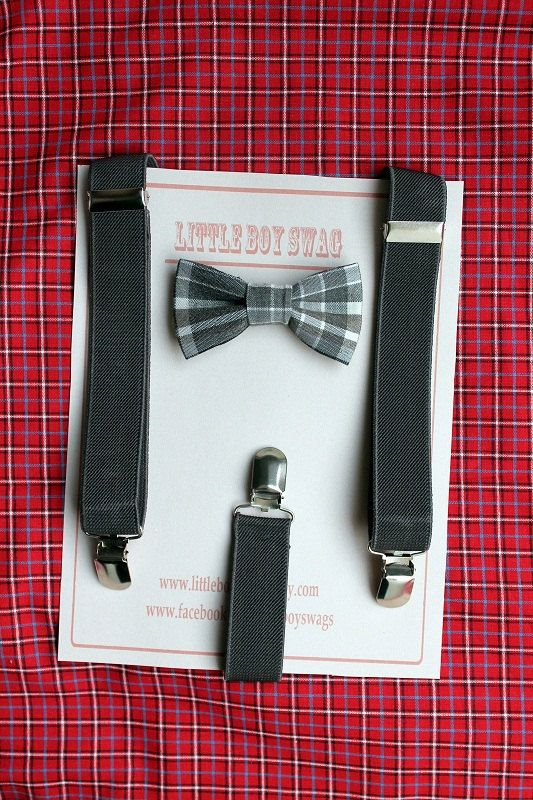 gray bow tie suspenders set boy bow tie by LittleBoySwag on Etsy, $28.00