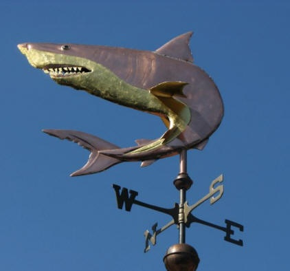 Curved Great White Shark Weathervane by West Coast Weather Vanes.  This Great White Shark weather vane was customized by using copper for the shark with optional gold leaf accents to the shark's teeth, belly and the undersides of the fins.