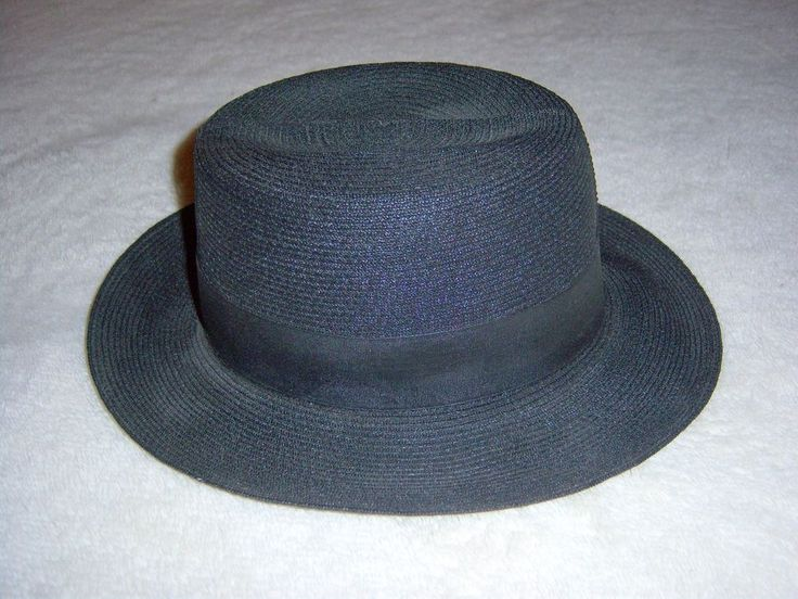 Mennonite Black Straw Hat Genuine Milan Hat Size S ...
