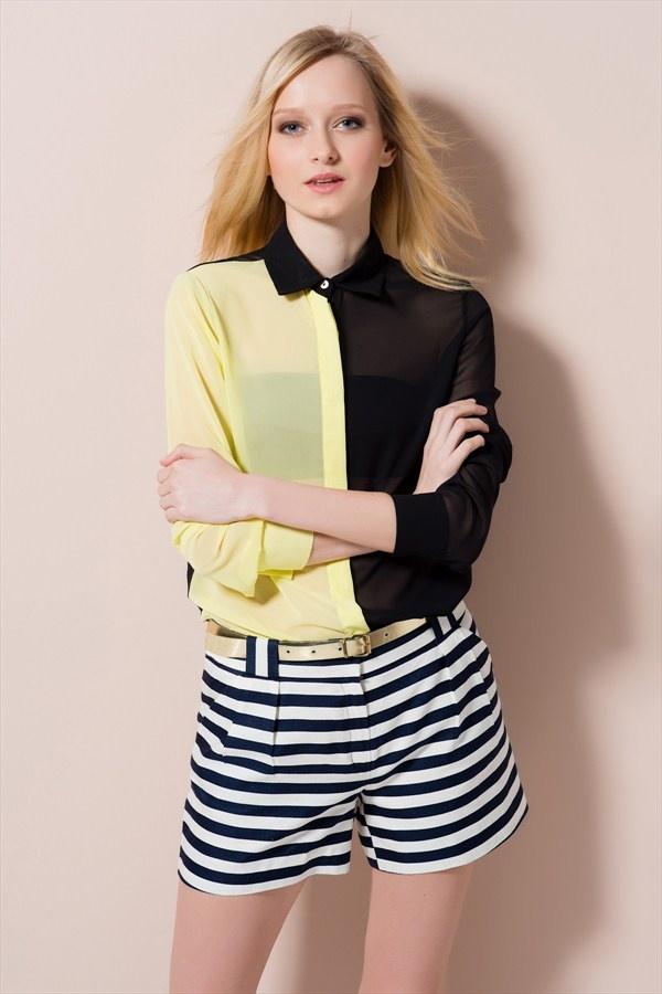 Trend: Sezonun En Çarpıcı Parçaları Sarı Siyah Çift Taraflı Garnili Gömlek R1037 %66 indirimle 29,99 TL Trendyol'da