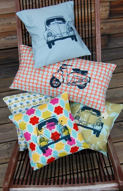Screenprint image over other patterns on cushions for retro look :) These feature scooter and VW beetle.