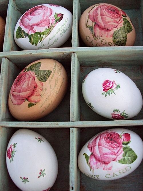 Eggs and roses. Darling! Are these decoupaged? I think so. Could certainly achieve a similar look using paper napkins. Hm....