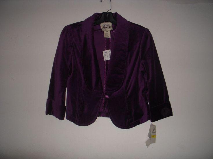NWT! Deep PLum Purple Velvet Cropped Blazer Tuxedo Jacket Sz XS Velour Satin Tux #NORI #Blazer ~ GORGEOUS
