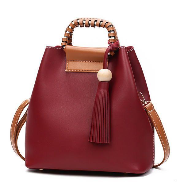 Women PU Tassel Bucket Bags Casual Shoulder Bags Large Capacity Crossbody Bags S - US$31.99  #men #women  #bags #fashion