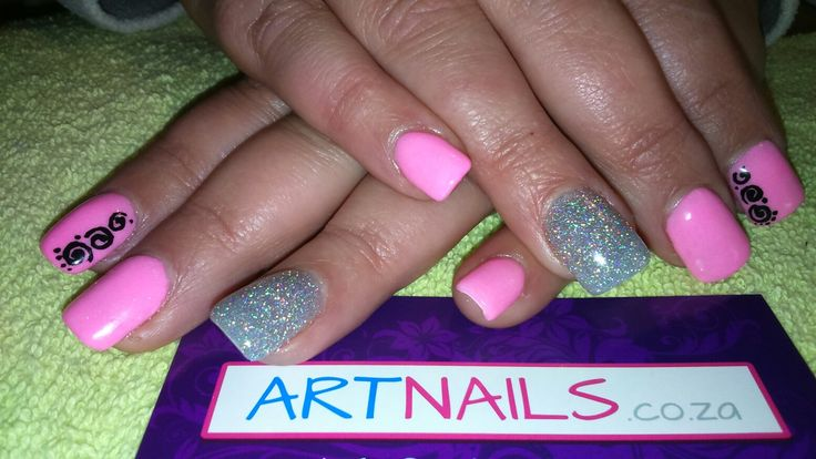 Light pink and light silver acrylic nails with floral hand drawn nail art
