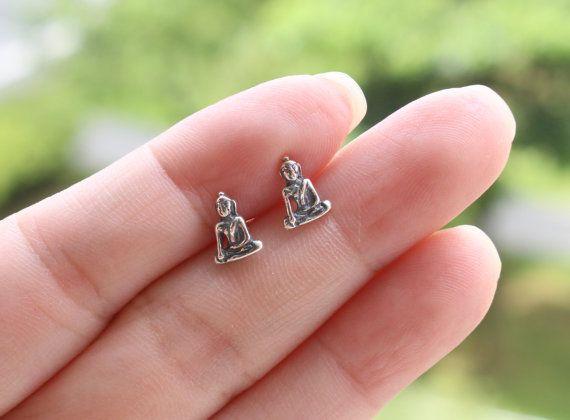 Buddha Stud Buddha Jewelry Sterling Silver Buddha by JCoJewellery