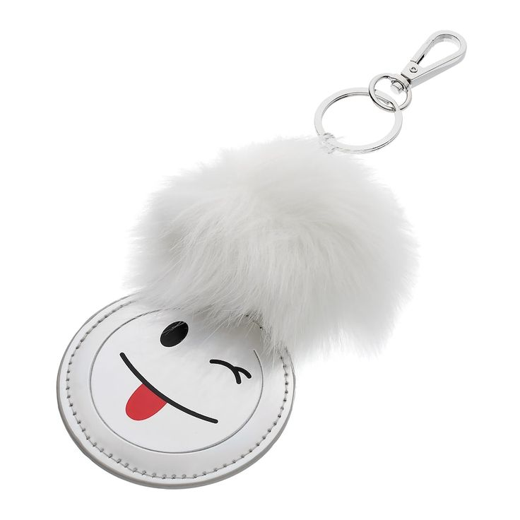 Mudd® Tongue Emoji Pom Pom Key Chain, Women's, White