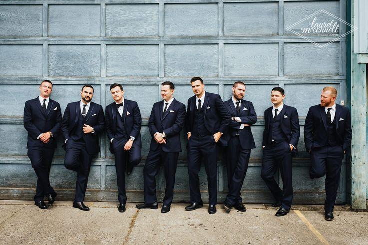 Hey boys, hey! Check out these dapper groomsmen in their navy blue tuxes: a modern spin on the classic black tie wedding! • • • • • #modernwedding #industrialwedding #bluetux #groomstyle #groomsmen #bluetuxedo #blue #hehadmeatjones #seattleweddingphotographer #laurelmcconnellphotography
