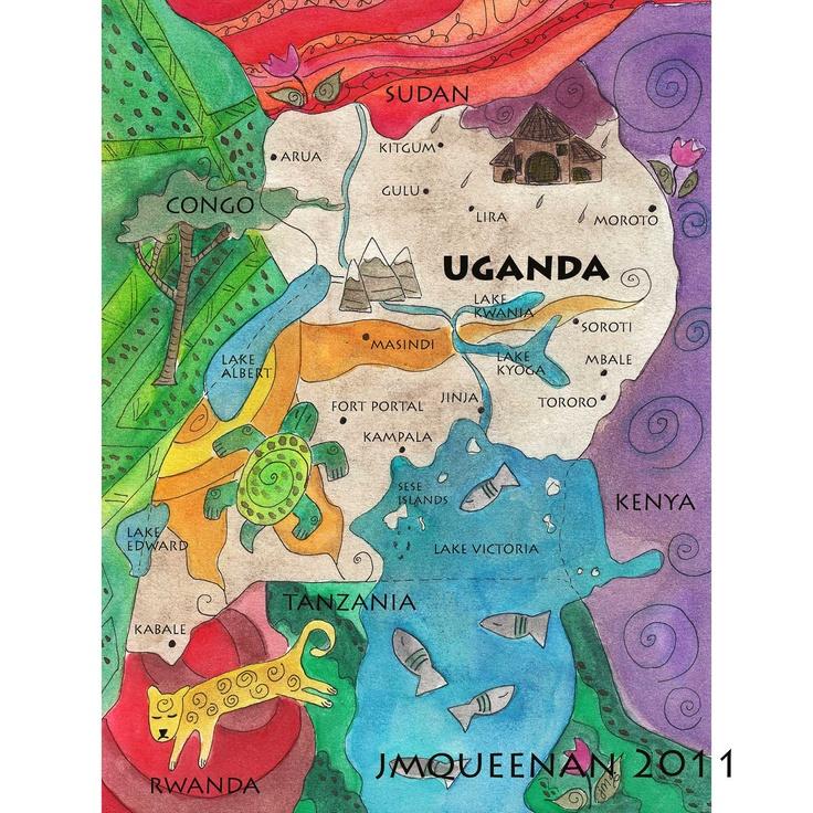 Uganda Map (9x12) Fine Art Print. $38.00, via Etsy.