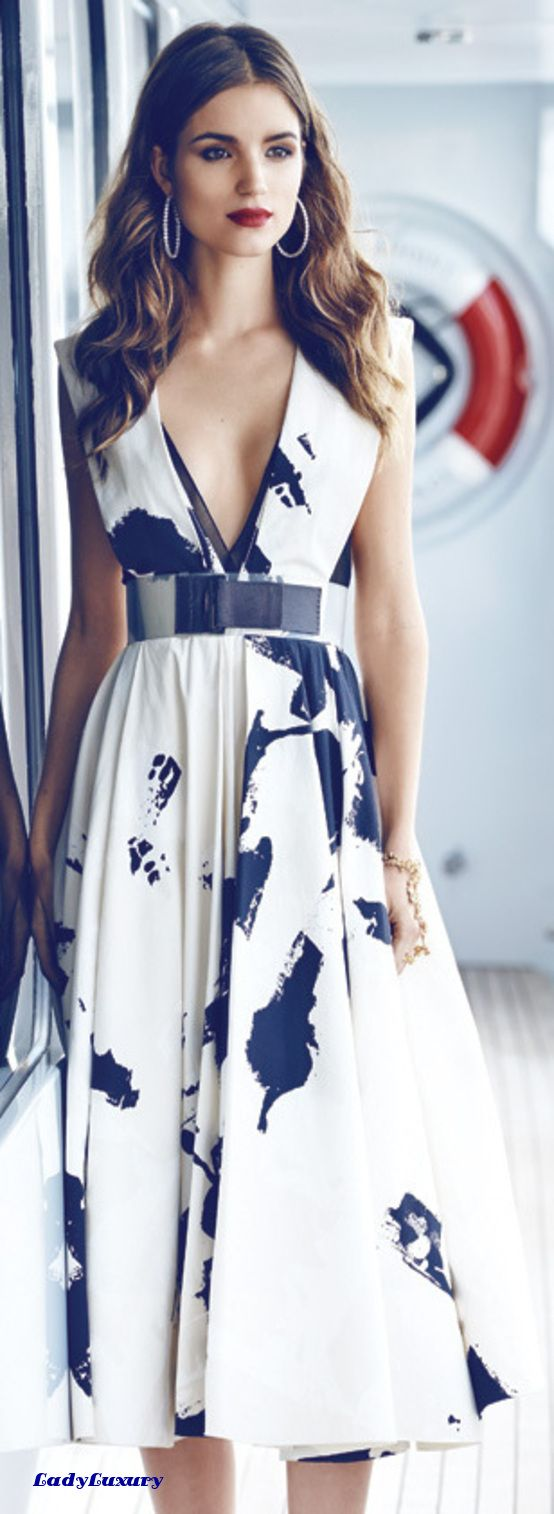 Sophisticated Nautical- Donna Karan sundress and belt; | LadyLuxuryDesigns