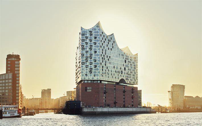 Lataa kuva Elbe Philharmonic, Hampuri, Saksa, Elbe, moderni arkkitehtuuri, Elbe Philharmonic Hall, Grasbrook