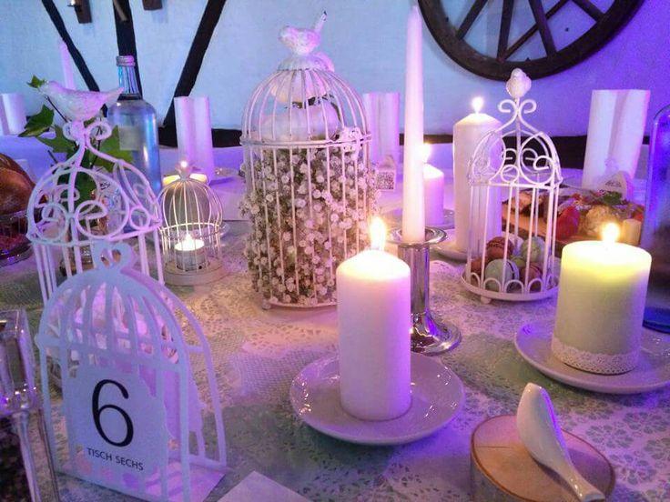 Vintage-Tisch-Deko Vogelkäfig Hochzeit