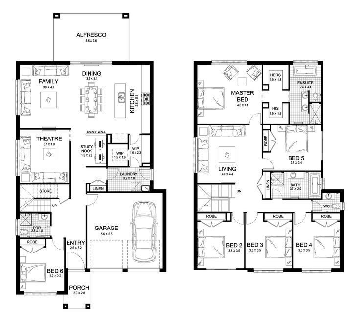 Bed 6 jadi rung tamu.. Home teater jadi ruang keluarga, r keluarga jadi kolam uuuuu perfect! Aria 38 - Double Level - Floorplan by Kurmond Homes - New Home Builders Sydney NSW