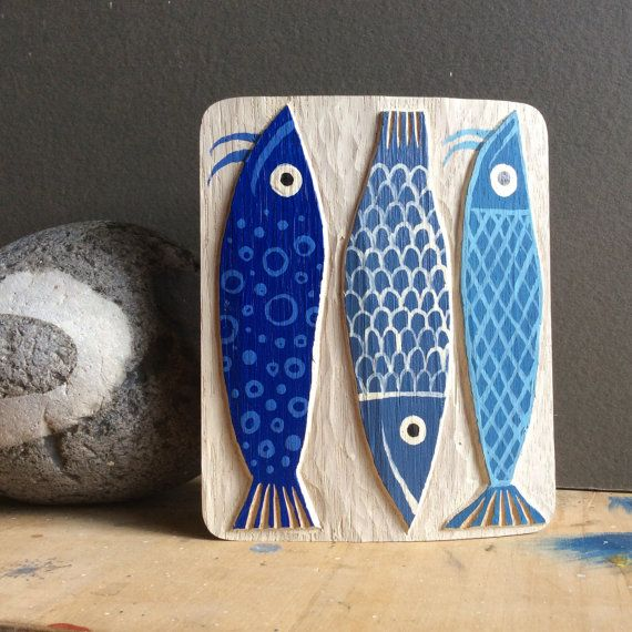 Poisson bleu image RELIEF de bois en chêne